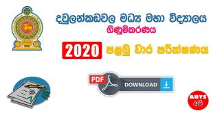Diwulankadawala Central Collage First Term Test Paper
