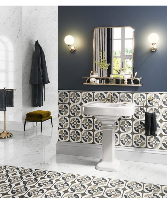 carrelage imitation marbre blanc veine de noir poli brillant rectifie 90x90x1cm santamarmocrea