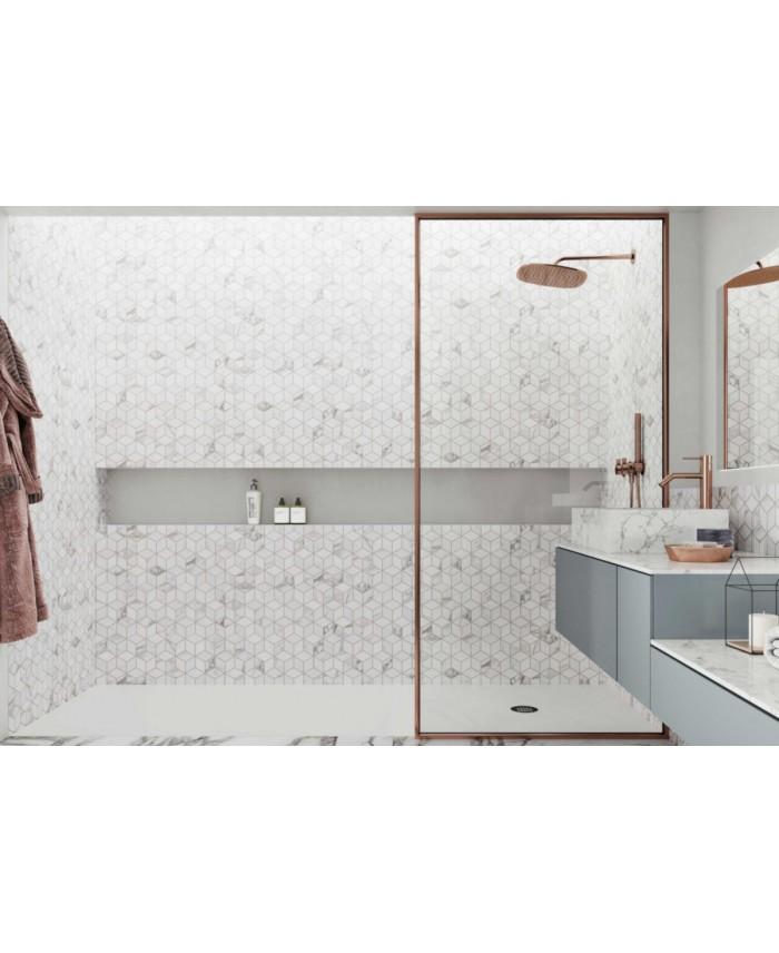 Carrelage Decor Effet 3d Imitation Marbre Blanc Mat 26 5x51cm Realrhombus Venato