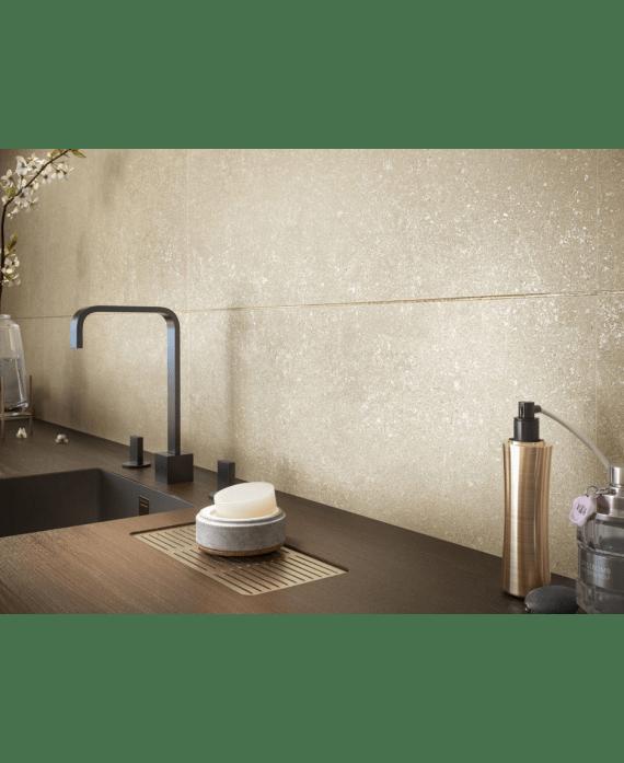 carrelage imitation pierre moderne sable poli brillant salon piece a vivre xxl 98x98cm rectifie