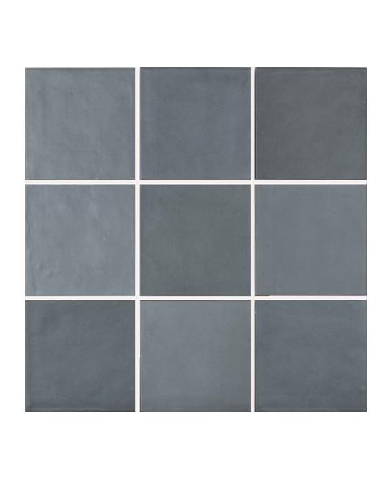 carrelage bossele bleu fonce mat bande blanc brillant 15x15cm contemporain mural apenelly bluestone