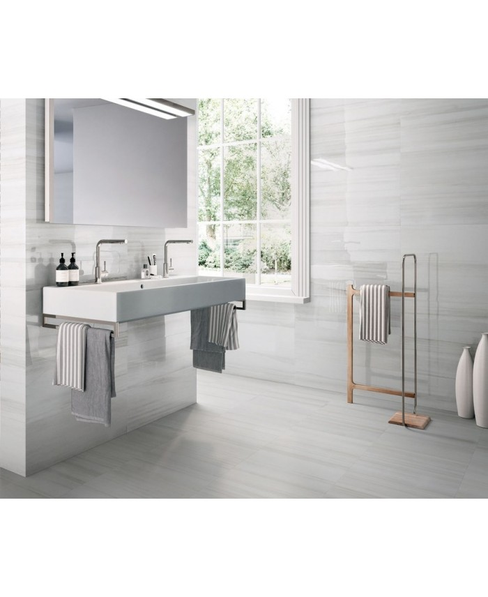 carrelage imitation marbre poli gris brillant 60x120cm rectifie salle de bain bianco lasa