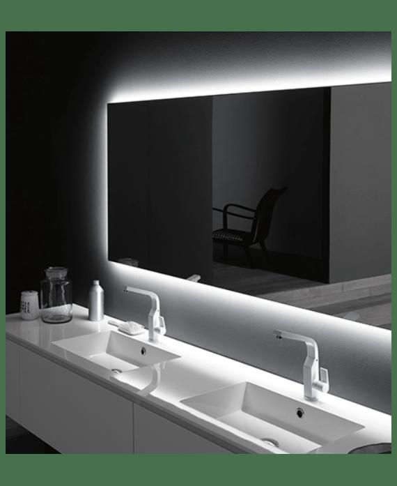 Miroir Lumineux Salle De Bain Horizontal Contemporain Avec Led Derriere Comp Digit