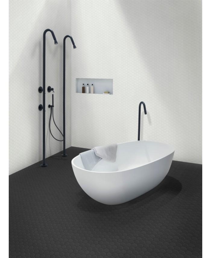 mosaique hexagonale salle de bain cuisine sol et mur blanc mat 4 3x3 8cm sur trame 31 6x31 6cm te