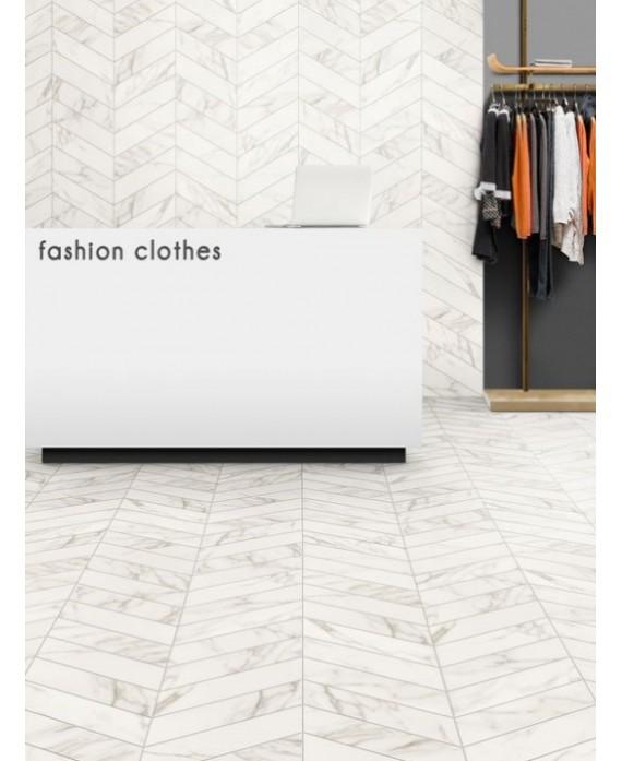 carrelage diamond realstatuario chevron left imitation marbre blanc 70x40cm