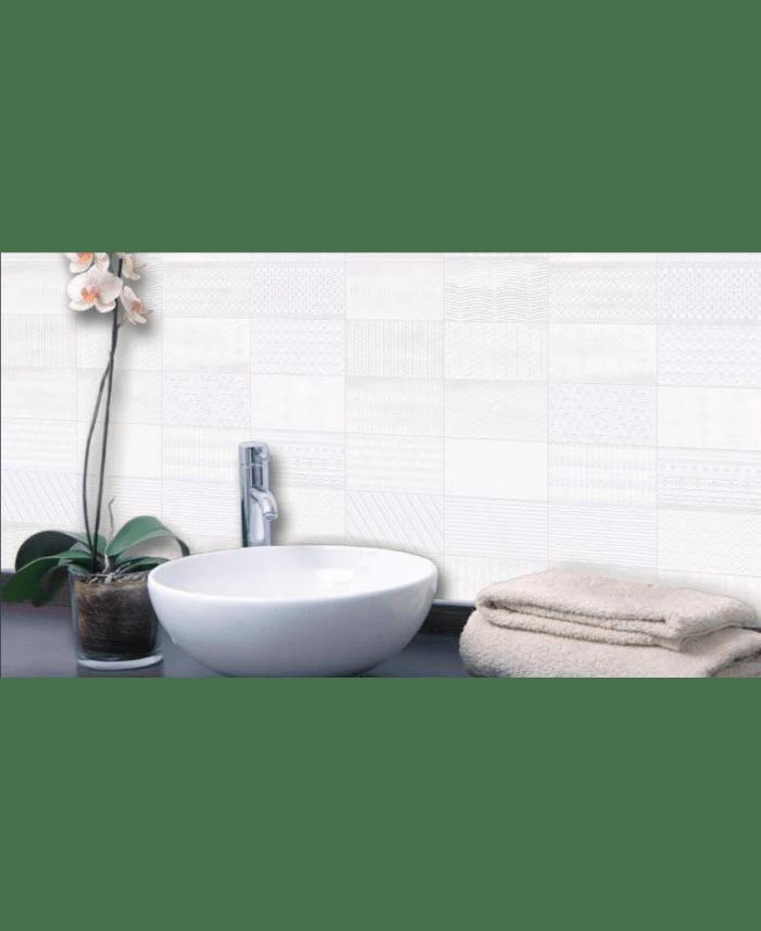 carrelage d blanc relief patchwork 7 5x15cm
