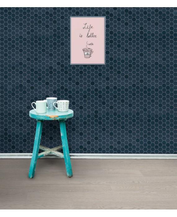 mosaique hexagone mur et sol salle de