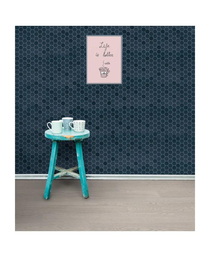 Mosaique Hexagone Mur Et Sol Salle De Bain Bleu Fonce Mat 4 3x3 8cm Sur Trame