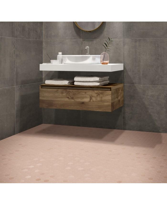 mosaique hexagonale rose mat salle de