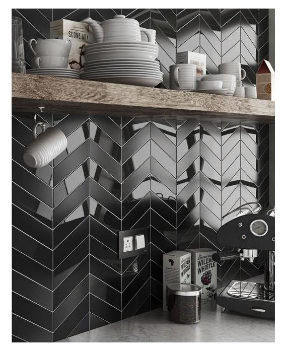 carrelage chevron a pans coupes equichevron wall left noir brillant 18 6x5 2cm 23356