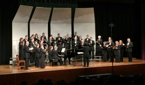The Arts District Chorale Broadway and More concert by the Waxahachie Symphony Association was a wonderful success. The Chorale goes through last-minute notes with Artistic Directory, Constantina Tsolainou.