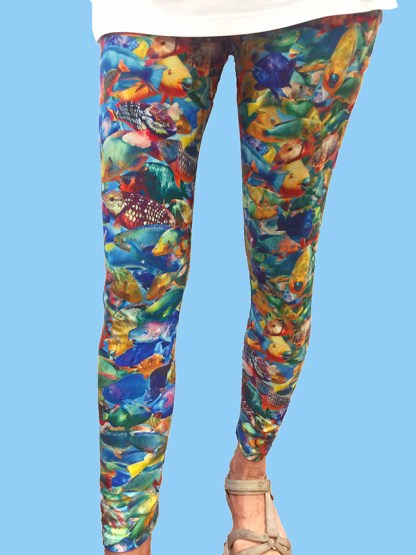 tropical ladies leggings with parrotfish camo design from the Florida Keys