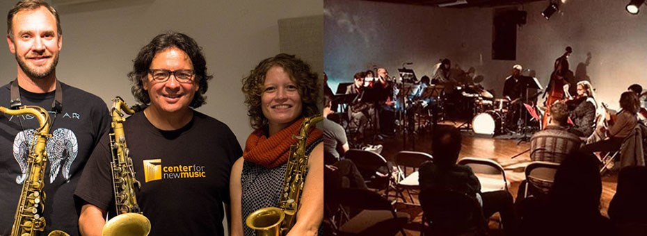 MUSIC | An improvising orchestra co-led by duo B. (Lisa Mezzacappa, bass and Jason Levis, drums). Social Stutter, a saxophone quartet led by composer-altoist Beth Schenck, blurs the line between strictly written chamber music and soaring free jazz.