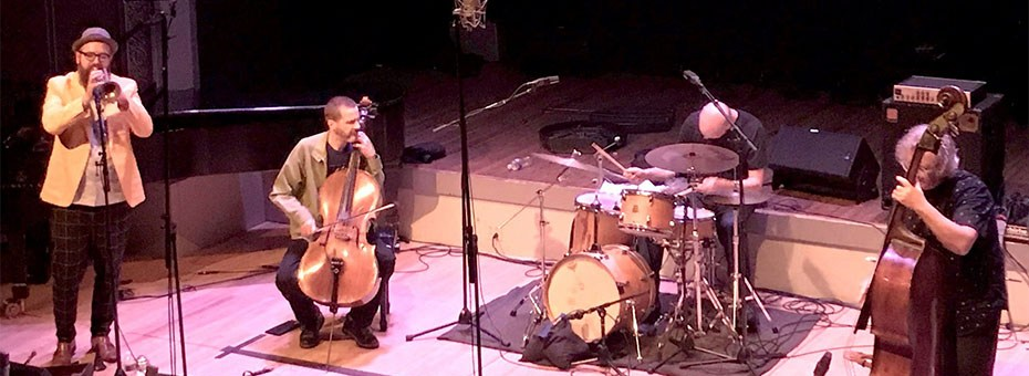 MUSIC | Come join this unique jazz quartet featuring Whit Dickey - drums, Michael Bisio - bass, Kirk Knuffke - cornet, and Fred Lonberg-Holm - cello live in concert.