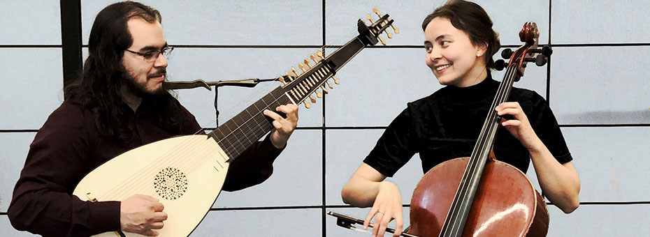 MUSIC | Yulia Fomicheva (CSMA faculty, cello) and CSMA former faculty Adrian Murillo - lute present a historically informed performance of 17th and 18th century music on historically accurate instruments: theorbo and Baroque cello.