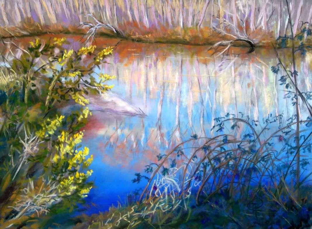 Claudette AUDRY Reflets hivernaux sur la Leyre