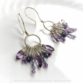 Bohemian wire wrapped sterling earrings - amethyst and iolite