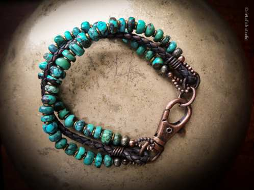Mixed metals; brass, copper with turquoise and leather bracelet.