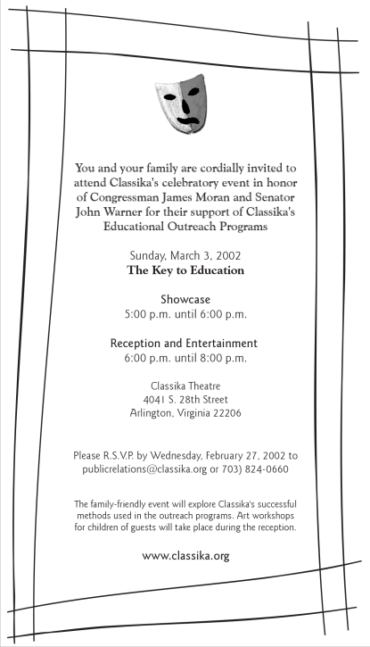 Classika Theatre event invite