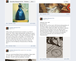Screen shot from CMA's Facebook page during Art Madness campaign.