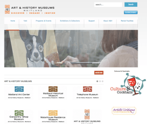 A view of the Art & History Museums-Maitland's website reflecting their merger