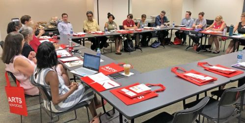 Georgia arts advocates meeting at the Woodruff Arts Center.