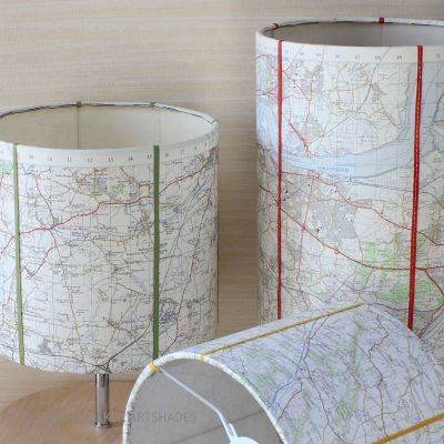 Map Drum Shade Lamps