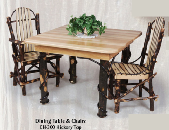 Amish Furniture Hickory Dining Room Table and Two Chairs Group