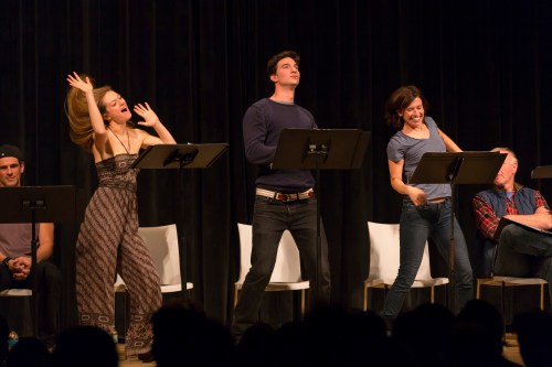 Marin Ireland, Jake Silberman and Hannah Cabell in the Arts Integrity reading of David Adjmi's 3C (Photo by T. Charles Erickson)