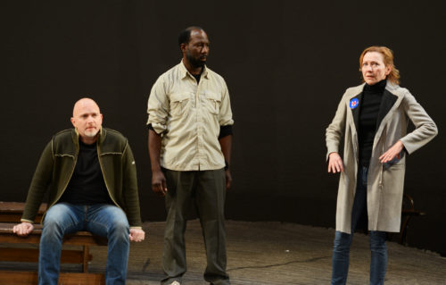 "Michael Cerveris, Russell G. Jones and Julie White IN ""Union Square Incident"" by Warren Leight"