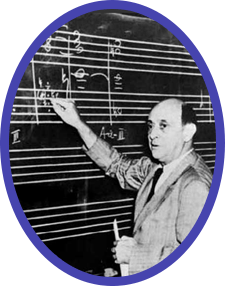 A rare photo of Arnold Schoenberg giving a harmony class at UCLA, where he taught from 1936-1944.