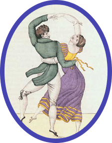 "A depiction of ""touch dancing""—as the waltz was often referred to—in a watercolor from the early nineteenth century"