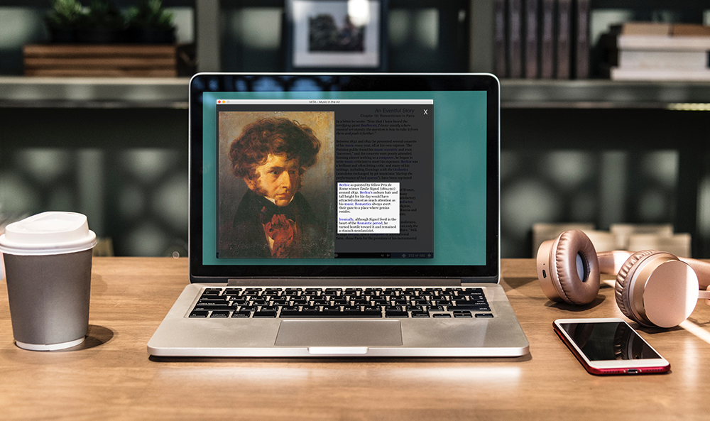 MITA open on a computer, with an image of Hector Berlioz displayed