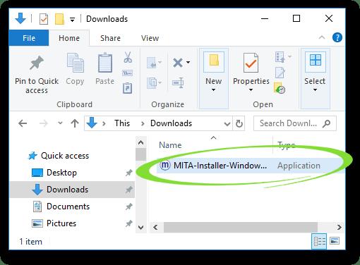 Screenshot of the Downloads folder, with MITA circled