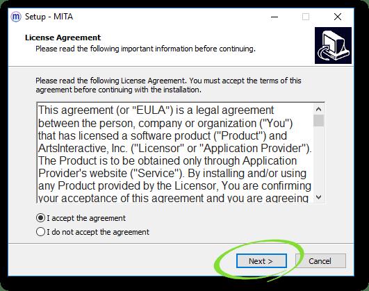 Screenshot of Installer Prompts window, with