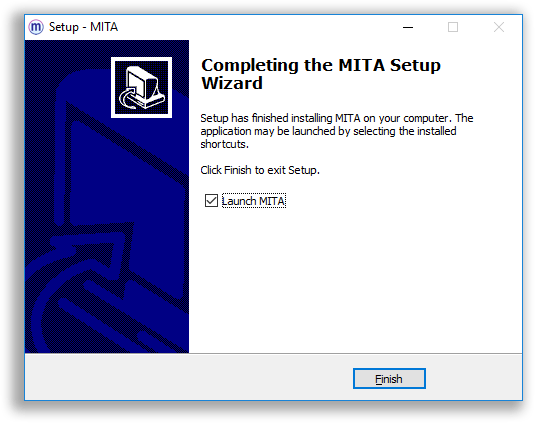 End of the MITA installer on Windows, where you can choose to launch MITA upon finishing