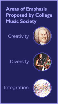 Areas of Emphasis proposed by College Music Society: Creativity, Diversity, Integration