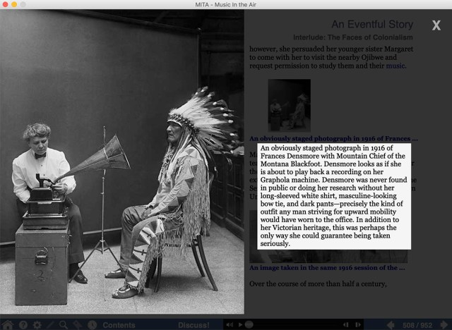 An enlarged photo in MITA, showing ethnomusicologist Frances Densmore with Mountain Chief of the Montana Blackfoot.