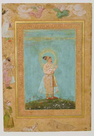 """""""Shah Jahan Holding a Spinel and a Long Deccan Sword,"""" from the Late Shah Jahan Album, c. 1650. Attributed to Hashim (Indian, active Mughal court, mid-1600s), Benhaim Collection, Cleveland Museum of Art"""