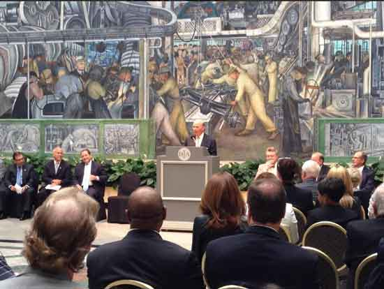 Today's grand announcement for the Grand Bargain TK at podium, Detroit Institute of Art director Graham Beal to his left