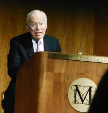 Leonard Lauder, speaking about his Cubist collection, Feb. 11 at the Metropolitan Museum Photo by Lee Rosenbaum