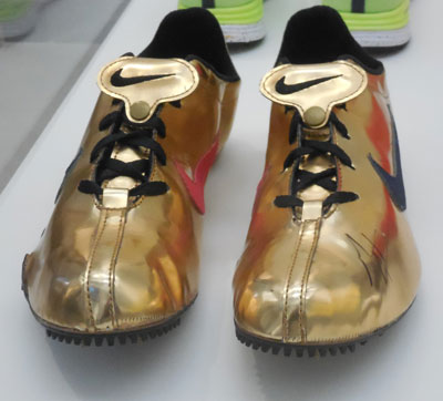 Track star Michael Johnson's gold track shoes, worn when he won 2 gold medals at the 1996 Atlanta Olympics Photo by Lee Rosenbaum