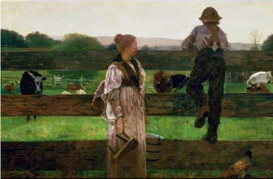 """Sold to...? Winslow Homer, """"Milking Time,"""" 1875"""