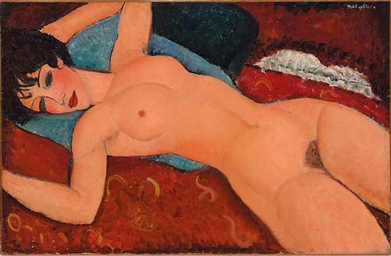 "Modigliani, ""Nu couché (Reclining Nude), 1917-18 Christie's presale estimate: in excess of $100 million"