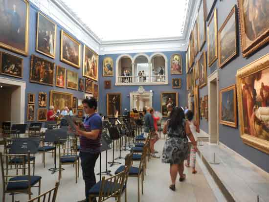 Wadsworth Atheneum's restored and reinstalled Great Hall with chairs for opening day concert Photo by Lee Rosenbaum