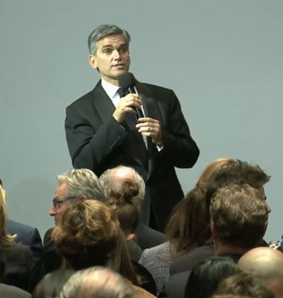Tad Smith, Sotheby's CEO, addressing the crowd before the first of the Taubman auctions Screenshot from webcast