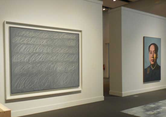 """L to R: Twombly's """"Untitled"""" (New York City), 1968; Warhol's """"Mao,"""" 1972 Photo by Lee Rosenbaum"""
