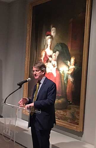 Tom Campbell, speaking in front of 1787 portrait of doomed Marie Antoinette and her children, at the Met's Vigée Le Brun press preview Photo by Lee Rosenbaum