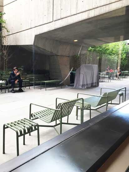 Yesterday at Met Breuer's almost deserted, sculpture-less sculpture garden Photo by Lee Rosenbaum