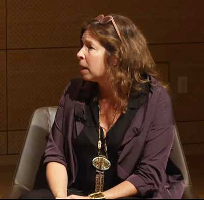 """Pasternak speaking to the ArtTable panelists Screenshot of live feed from """"New Visions, New Voices"""""""